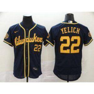 Milwaukee Brewers Christian Yelich Navy Jersey
